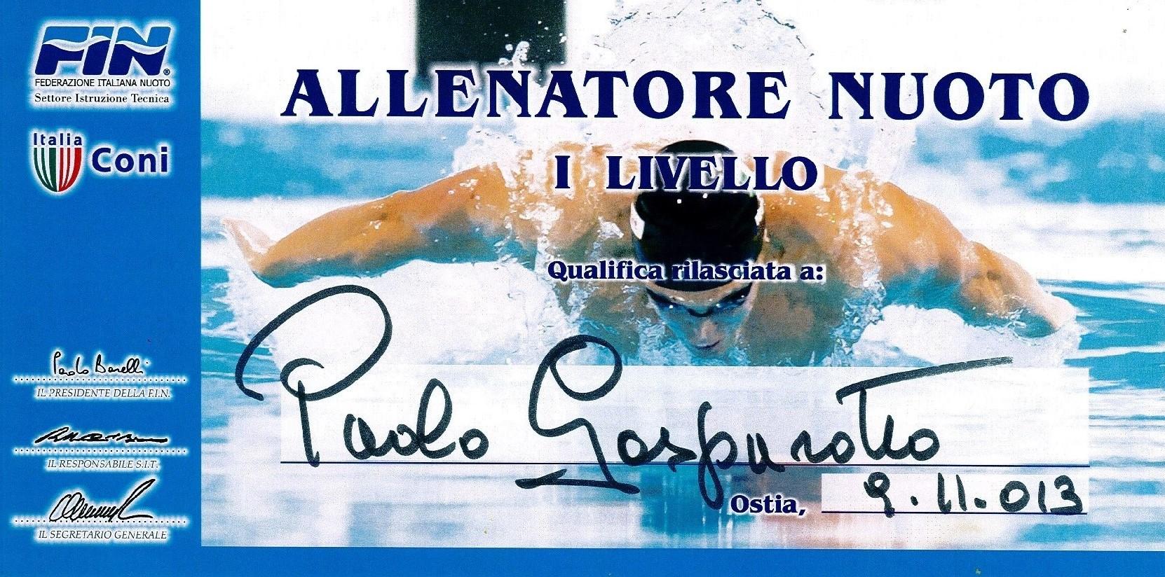 Il mio brevetto di Allenatore Nuoto I Livello